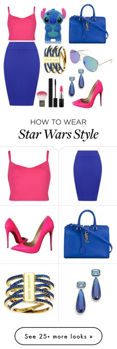 """""""Pink/Blue Outfit"""" by diana8808 on Polyvore featuring Ted Baker, WearAll, Christian Louboutin, Yves Saint Laurent, Michael Kors, Jarin K, Topshop, Gucci and MAC Cosmetics"""