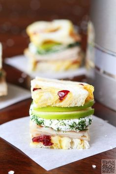33. #Turkey and Apple Goat #Cheese Tea Sandwiches - 38 Tea #Sandwiches… #Party