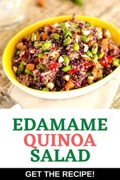 This Edamame Quinoa Salad is a delicious vegan salad that even meat-eaters will find hearty enough for a meal! It is a great make-ahead lunch for the busy work week. #vegan #quinoasald Quinoa Recipes Easy, Vegetarian Salad Recipes, Best Salad Recipes, Healthy Gluten Free Recipes, Healthy Salads, Lunch Recipes, Dinner Recipes, Summer Recipes, Dinner Ideas