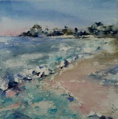 """Beachscape III"" original watercolor by Julie Hill ( 6 "" x 6 "" )"