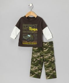 "BOYZ WEAR brown ""Ranger"" layered top camo pants on Zulily. Camouflage Pants, Camo Pants, Kids Wear Boys, Boy Fashion, Babies Fashion, Layered Tops, Toddler Girl, Tees, Shirts"