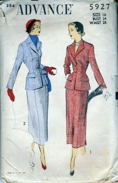 Advance 5927 - 1940's ladies jacket and skirt Pattern is cut & complete