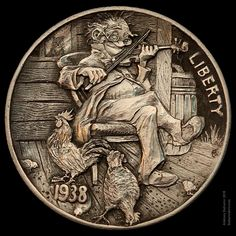 "Hobo Nickel ""Playing for poultry"" engraved by Aleksey Saburov."