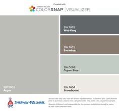 I found these colors with ColorSnap® Visualizer for iPhone by Sherwin-Williams: Drift of Mist (SW Snowbound (SW Retreat (SW Acacia Haze (SW Sea Salt (SW Exterior Color Schemes, Exterior Paint Colors, Exterior House Colors, Exterior Design, Paint Colors For Living Room, Paint Colors For Home, Paint Colours, Bedroom Colors, Interior Paint
