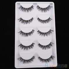5 Pairs Lot Black Cross False Eyelash Soft Long Makeup Eye Lash Extension 2ICT
