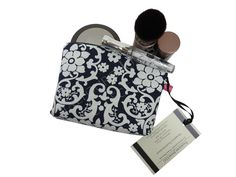 Blue White Floral Fabric Makeup Bag - Travel Cosmetic Pouch - Pink Stripe Laminate Lining - Jennifer Paganelli - Ladies Gift by TalfourdJones on Etsy