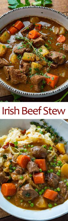 Irish Beef Stew An easy Irish style beef stew with slowly braised beef! Easy Meat Recipes, Easy Dinner Recipes, Cooking Recipes, Healthy Recipes, Irish Recipes, Easy Beef Stew, Irish Beef, Soups And Stews, Beef Stews