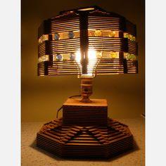 Folk Art Popsicle Stick Lamp vintage, brown, vintage lighting. End of summer project