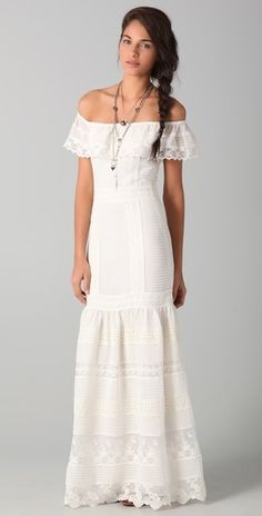 off the shoulder white chiffon and lace dress. perfect