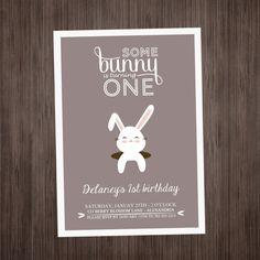 Bunny Invitation Birthday  PRINTABLE  Rabbit  by LuLuPaperPrints, $8.00
