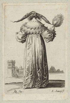 Salomon Savery   Vrouw gekleed volgens de mode van omstreeks 1630, van achteren gezien, Salomon Savery, Pieter Jansz. Quast, c. 1630   Vrouw, van achteren gezien, een rozet met breed uitstaande flappen in het haar. Veren stokwaaier in de rechterhand. Kasteel links op de achtergrond.