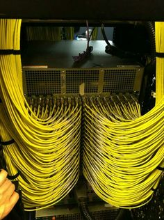 Yellow BNC connections running into a router.