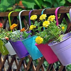 (L) 6 PCS Garden Decoration Supplies Iron Pastoral Balcony Pots Planters Wall Hanging Metal Bucket Flower Holders 6 Colors