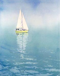 1. Blue Lake Painting Sailboat Art / Watercolor Painting PRINT / Ocean art sailing poster nautical artwork / lake artwork / Sail Boats