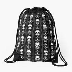 """Black & White Skull Stripes"" Drawstring Bag by HavenDesign Backpack Bags, Tote Bag, Meet Friends, Drawstring Bags, Woven Fabric, Skull, Stripes, Black And White"