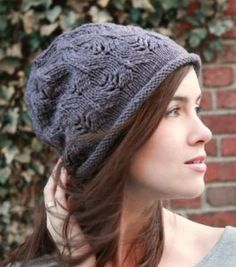 Free knitting pattern for Plum Tree Slouchy Hat with all over lace pattern