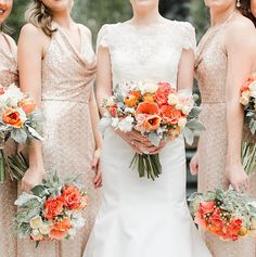 Bright style and soft textures in these classic garden bridal and bridesmaid bouquets featuring poppy and dusty miller