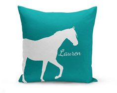 Personalized Horse Throw Pillow Cover Teal Horse Decor Horse Pillow Home Decor Living Room Bedroom Couch Cushion Decorative Pillow Cover
