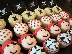 Pirate themed cupcake decorations.