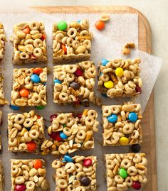 Honey Nut Cheerios™, M & Ms™, salty peanuts and pretzels make these no-bake cereal bars super satisfying. Make sure to really compress them when pressing in the pan, that way they'll be easier to cut!
