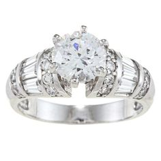 Alyssa Jewels 14k Gold 2ct TGW Round/ Baguette Clear Cubic Zirconia Engagement-style Ring, Women's