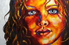 Original Portrait woman palette knife oil painting on by artpower, $12000.00