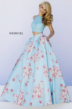 SHERRI HILL Prom Dresses 2015 # 32216 Sky blue lace crop top matches perfect with the floral print ball gown skirt below on this fresh yet elegant two piece.