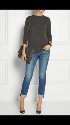 Stitch Fix Fall Fashion - Simple, classy casual look. Gray cashmere sweater, boyfriend jeans and pumps. Love this look.