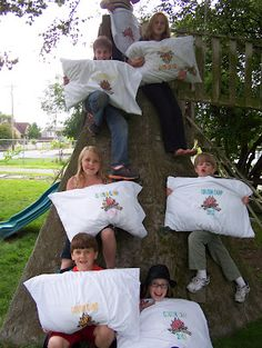 """Make homemade pillowcases. Have """"camping"""" theme for day campers, and make pillow case covers as part of their crafts. een kamp kussensloop maken als aandenken! Camping Parties, Camping Games, Camping Activities, Activities For Kids, Camping Theme Crafts, Camping Crafts For Kids, Group Activities, Camping Tips, Camp Out Vbs"""
