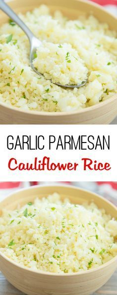 Garlic Parmesan Cauliflower Rice Cauliflower rice is cooked with a garlic butter sauce and Parmesan cheese for a low carb, gluten free, delicious and easy dish. One of my favorite ways to eat c Side Dish Recipes, Veggie Recipes, Low Carb Recipes, Diet Recipes, Vegetarian Recipes, Cooking Recipes, Healthy Recipes, Recipies, Recipes Dinner