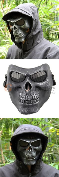 [Visit to Buy] Military Full Face Skeleton Skull Mask Hunting Cosplay Party Halloween Props(Silver Black) #Advertisement
