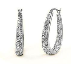 Win Today's Giveaway of the Day - 18kt White-Gold-Plated Swarovski Elements Hoop Earrings - Drawing 5/17/15 @ 3PM EST