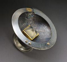 Roger Rimel,  Moonstone, 14k gold, brown diamonds, sterling, patina.