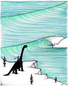 Surf Check. Original signed ink illustration