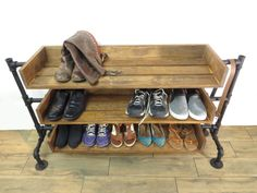 Industrial Pipe Shoe Storage, Shoe Rack, Handmade Shoe Organizer, Black Iron Pipe Entryway Shoe Shelving, Shoe Stand by JustKnotWood on Etsy https://www.etsy.com/listing/398173411/industrial-pipe-shoe-storage-shoe-rack