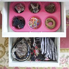 organizing your vanity, drawer storage, vanity storage, muffin tin diy projects