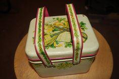 Vintage Potpourri Press Tin Basket Box w/ Handles Red & Tan Antique Toys #PotpourriPress #VintageRetro