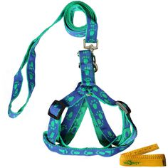 Blue and Green Adjustable Breakaway Dog Cat Pet Harness and Leash Set with Footprint for Dogs Cats Pets in Spring Summer Autumn *** Unbelievable cat item right here! : Cat products
