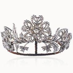 Diamond tiara, 19th century, set with rose cut diamond.
