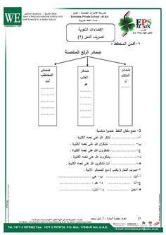 الصف الرابع لغة عربية الفصل الثاني كامل أوراق عمل منتصف الفصل Private School School Language