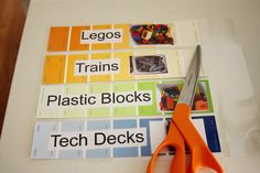 BeingBrook: Paint Chip Labels {Playroom organization}