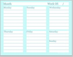 Day Planner Printable  Goodnight Little Spoon Freebie