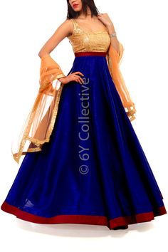 6Y Collective Navy Rawsilk Anarkali Style Gown with Sequins Empire Waist  i love this color combinations.....its look stunning at wedding..,party..or receptions.. #Gown, #Anarkali