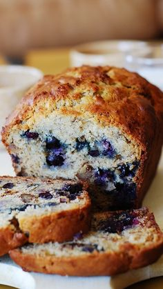 Moist banana bread with blueberries. only 1/3 cup butter used, the rest is replaced with Greek yogurt