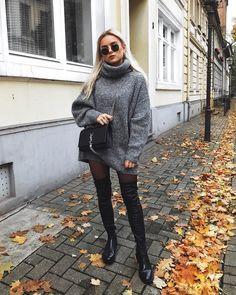 sweater dress + high boots @dcbarroso
