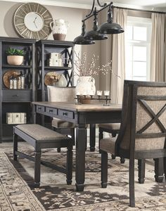 Modern Farmhouse Dining Room Decor Ideas – Best Home Decorating Ideas - Page 10 Dining Room Design, Dining Room Chairs, Side Chairs, Dining Tables, Grey Dining Room Furniture, Dark Furniture, Design Table, Console Tables, Dining Room Sets