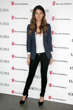 Lily Aldrige in blue blazer and black jeans