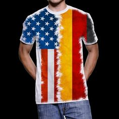 Combo Flagshirt Germany USA T-Shirt for Multinational People Homeschool, Germany, Usa, People, Cotton, Mens Tops, T Shirt, Clothes, Fashion