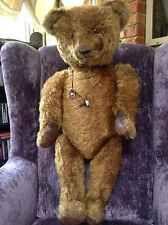 ANTIQUE IDEAL TEDDY BEAR AMERICAN DARK BROWN MOHAIR