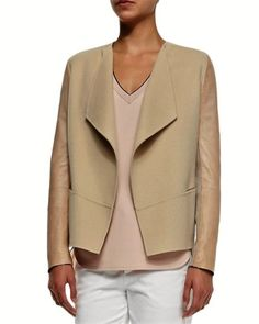 NWT-695-VINCE-Drape-Front-Wool-and-Leather-Sleeve-Jacket-Sz-XS